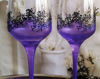 Set of 2 hand painted champagne flutes Purple fantacy Gatsby style wedding flutes