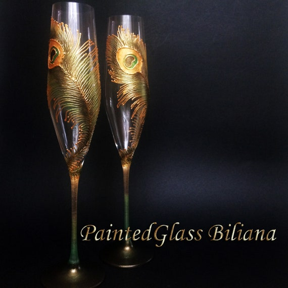 Wedding Glasses Peacock feather Champagne Flutes Hand Painted Set of 2 Peacock theme wedding in Green and Gold color