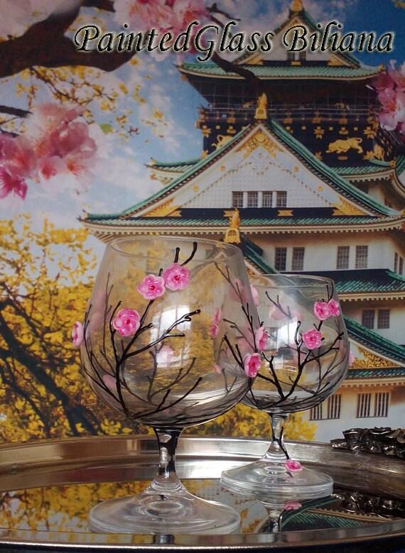 Sakura crystal set of 2 Hand Painted brandy cognac whiskey glasses Cherry blossom theme