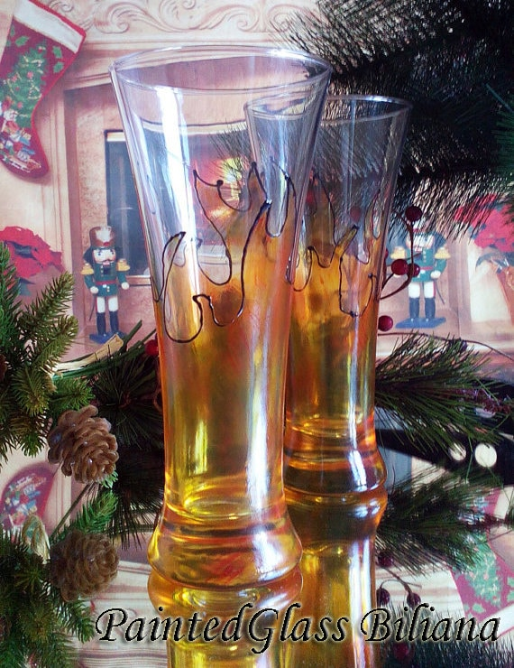 """Set of 2 Hand Painted Pilsner beer glasses """"On fire"""""""