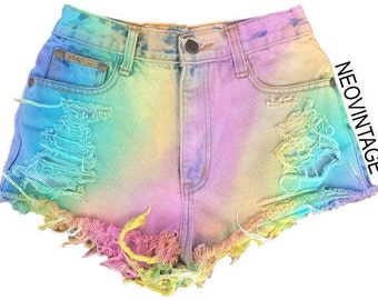c433925270 Pastel Rainbow High Waisted Colorful Tie Dyed Hipster Festival Fringed  Denim Shorts