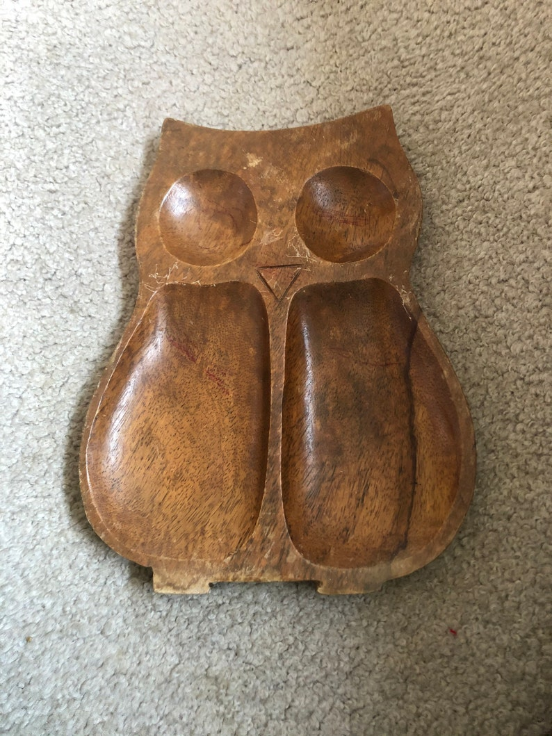 Wooden Owl Tray Vintage Philippines,