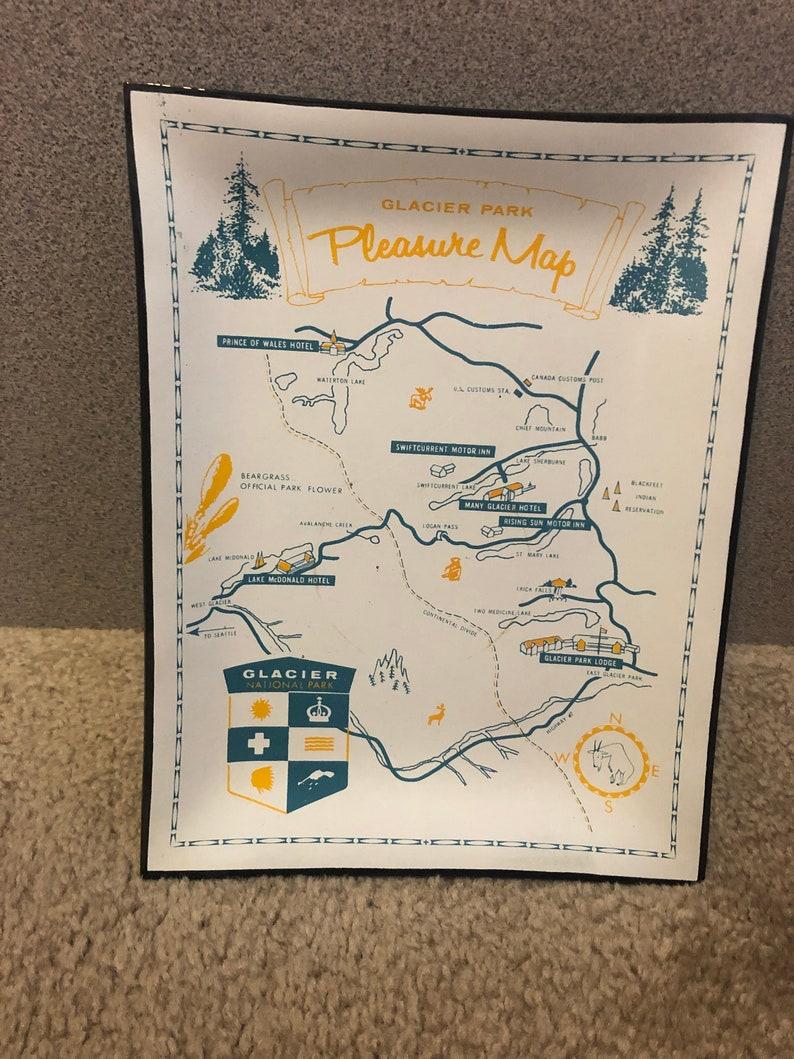 Vintage Glacier National Park Pleasure Map gl tray/dish, National Park on glacier natl park map, east glacier park map, glacier park peak map, glacier park hotel map, glacier montana map, many glacier hotel map, glacier park camping map, lake mcdonald lodge map,