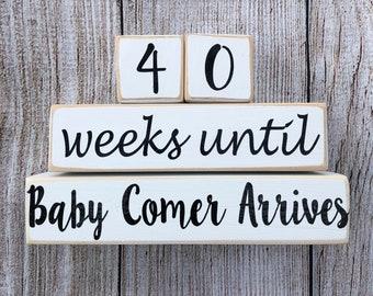 40 Weeks Until Baby Arrives Countdown Block Personalized Last Name
