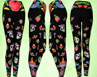 Yoga Pants, Foldover Waist, Day of the Dead, Sugar Skull Leggings, Sacred Heart Leggings, Sacred Heart, Flying heart, Cute leggings, skull