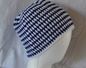b53c58d51a7264 Blue and White Striped Stocking Cap