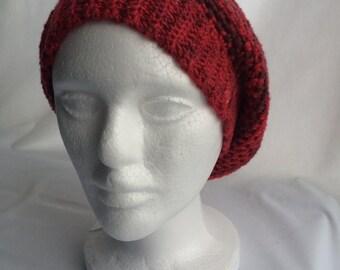 b8ec285bad8ed Light and Dark Red Slouchy Crochet Beret Type Hat
