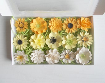 yellow and cream paper flowers seeded paper favors unique gift set made with plantable paper embedded with flower seeds plant and grow