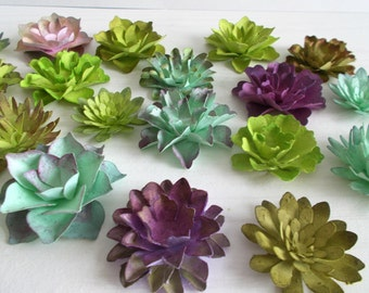 12 paper succulents made from seeded paper hand inked paper assorted succulents from plantable paper embedded with flower seeds