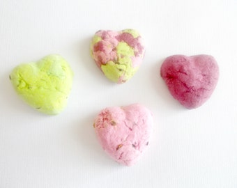 50 Heart Shaped Seed Bombs - Plantable Paper With Wildflower Seed Balls - Pink and Green Mosaic Mix