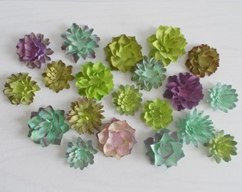 50 Succulent Favors Made from Plantable Seed Paper - Hand Inked Paper Succulents - Eco Friendly Wedding, Shower and Party Decor