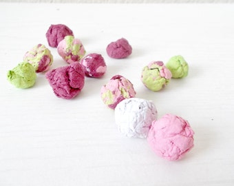 40 Wildflower Seed Bombs -Plantable Paper With Flower Seeds - Pink and Green Marbled Mix