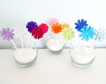 Eco Friendly Plantable Paper Daisy Cupcake Toppers, Set of 12, You Choose Colors