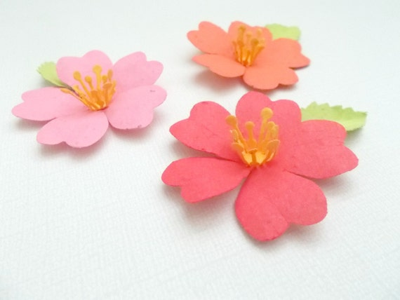 12 Paper Hibiscus Flowers Made From Paper Embedded With Flower Etsy