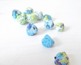 Eco Friendly Seed Bombs -Plantable Paper With Wildflower Seed Balls - Ocean Mix - Blues, Green and White Marbled  -
