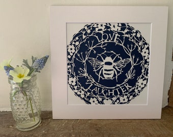 Love and Laughter bee mounted papercut