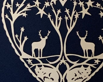 Winter Stag and Fox Heart Papercut
