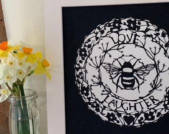Love and Laughter bee mounted papercut (large)