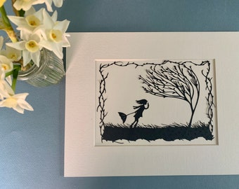 March Winds mounted papercut