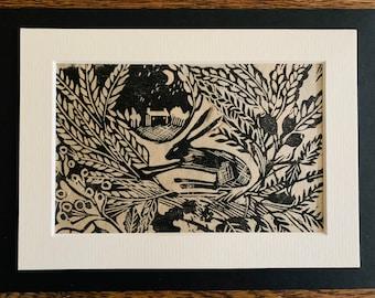 Harvest hare unframed mounted original linocut lino print handprinted hares stars moon landscape woods corn and trees