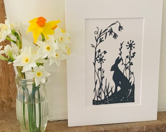 The Meadow Watcher, mounted hare papercut