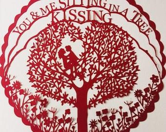 You and Me Kissing Tree papercut