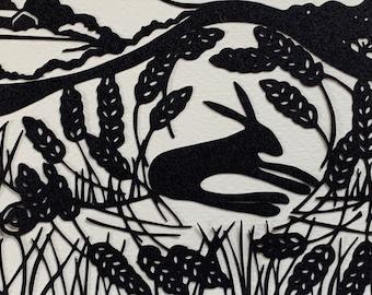 Lammas Day Hare Papercut