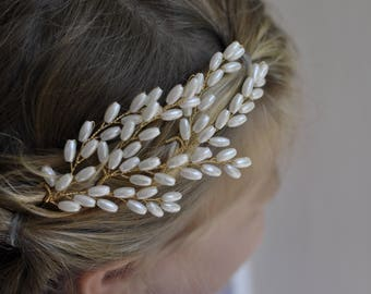 Set of 3 Rhinestone, Faux Pearl Bridal Hair Pins,  Wedding Hair Pins, Flower Girl Hair Pins, Bridal Hair Accessories