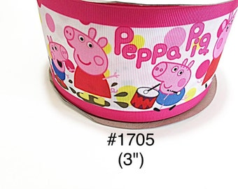Peppa pig and george etsy 235 yard 3 peppa pig and george playing drum with polka dot motif on white jumbo grosgrain ribbon craft supply aloadofball Choice Image