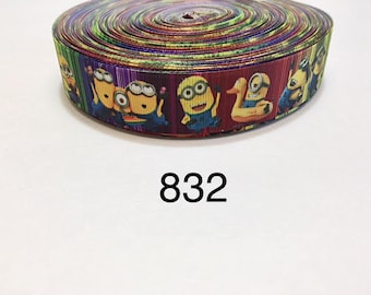 """1/""""25mm CUTE AGNES DESPICABLE ME PRINTED WHITE GROSGRAIN RIBBON 3YARDS"""