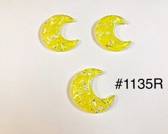 510c3e00a 3 or 5 pc Yellow Crescent or Half Moon Resin Flat back Cabochon Hair Bow  Center Craft Supply