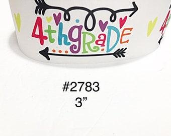 "3/"" School Unicorn Kindergarten Grade with Star Motif White Jumbo Grosgrai 3 yd"