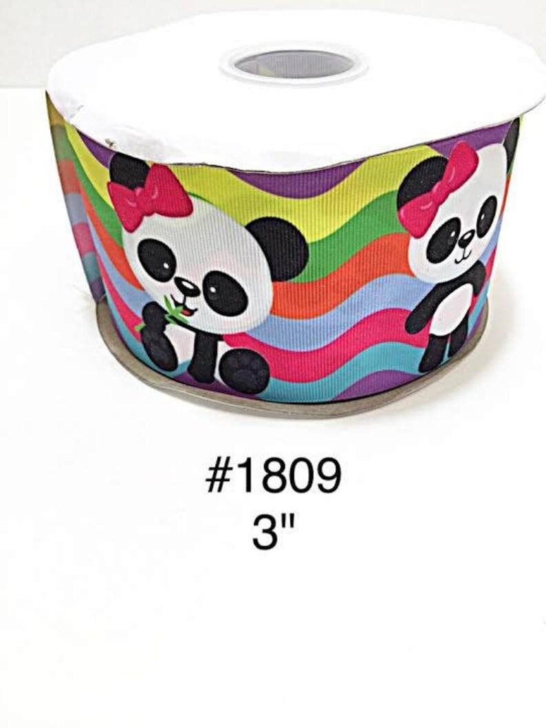 fc7a6b669f3ca 2 3 5 yard 3 Cute Panda wearing Pink Bow on Multi