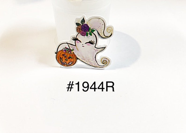 3 or 5 pc Halloween Ghost Wearing Flower Hair Clip Holding Pumpkin Basket Planar Resin Flat back Cabochon Hair Bow Center Craft Supply