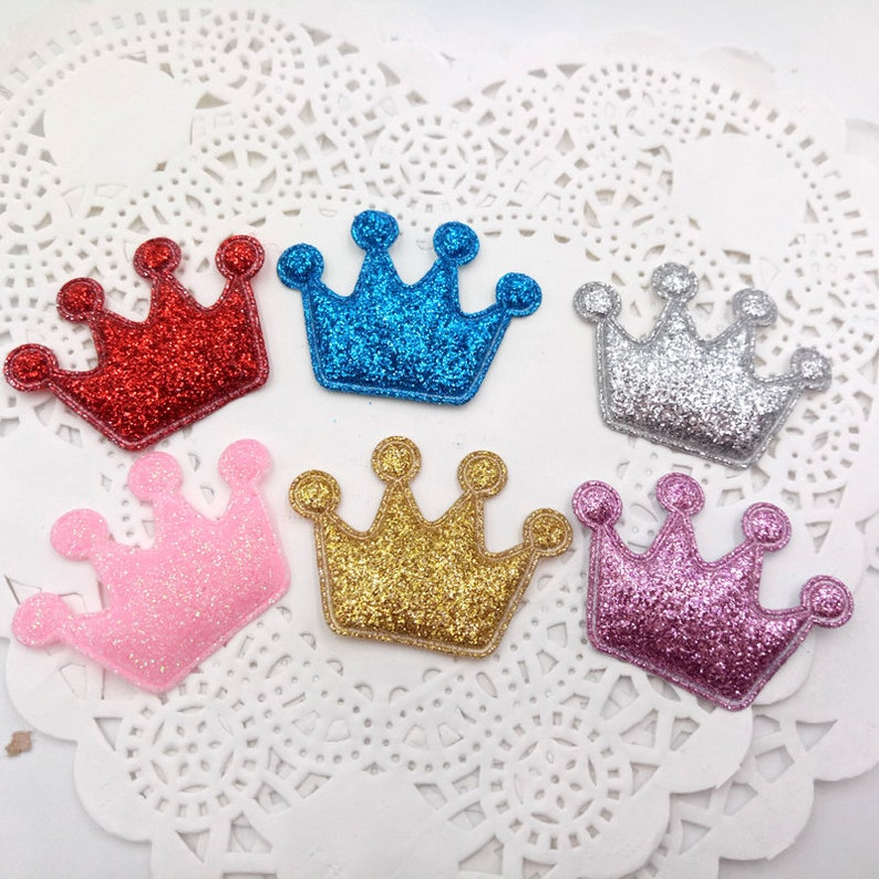 5 pc 1 Glitter Padded Crown without Clip Flat back Cabochon Hair Bow Center Craft Supply