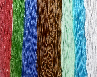 38 Inch Tie-On Solid Color African Waist Bead Strand Blue