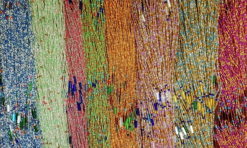 44 Inch Tie-On African Waist Bead Strand Pink Dark