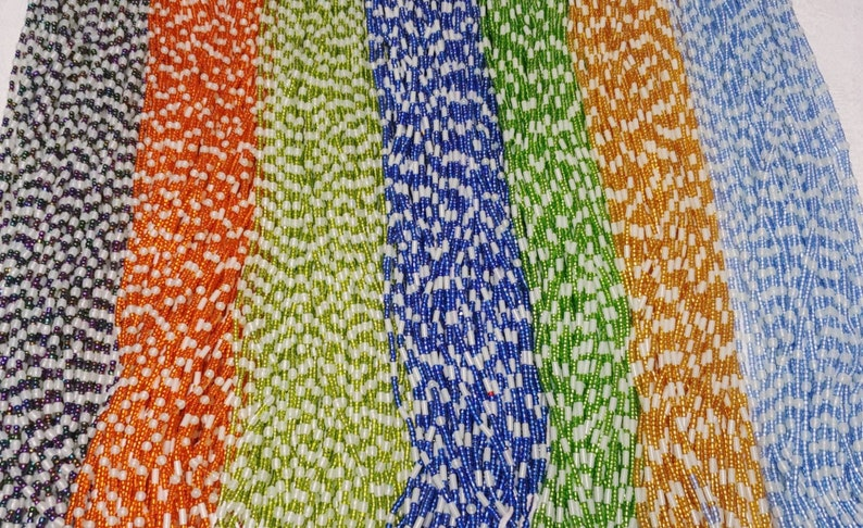 44 Inch Tie-On Dark Blue and Glow-in-the-Dark African Waist Bead Strand