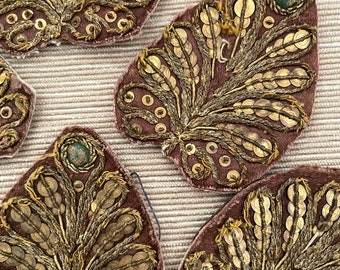 Seven Antique 19th Century Zardozi Gold Bullion Embroidery on Chocolate Brown Silk Appliques Very Rare Free Shipping