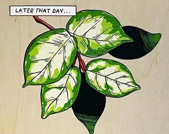 "Original Painting ""Hoya Carnosa Variegated Leaf Study"" Gouache Painting on 8x8"" IMPERFECT Wood Panel, Leaf/ Foliage/Greenery/Nature Piece"