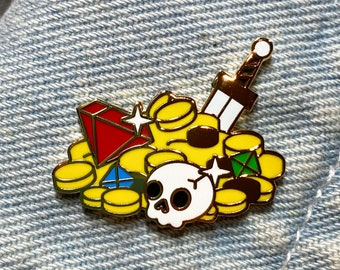 Loot - Treasure -RPG Items - Hard Enamel Pin - Gold Metal - Shiny Flair Lapel Pin