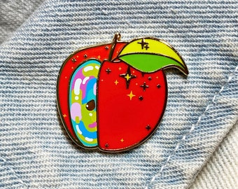 The Magic Apple - A Head in the Clouds Series Deluxe Pin -  Hard Enamel - Screen Print - Gold Metal - Shiny Flair Lapel Pin