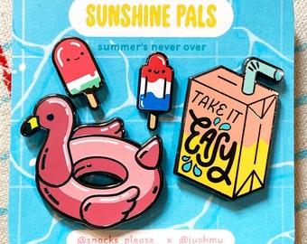 "All Four Pins -A ""Sunshine Pals"" Snacks Please x Jushmu Collab - Hard Enamel Pins - Black Nickel Metal - Flair Lapel Pin"