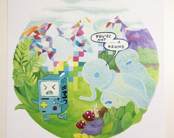 "5x5"" Art Print on Paper ""Beemope"" Adventure Time BMO Inspired Piece 2013"
