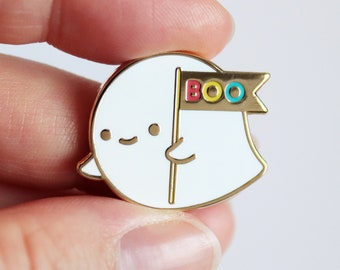 Lil Ghost - A 'Lil Buddies' Pin - Cute Original Characters - Hard Enamel Pin - Gold or Black Nickel Metal - Shiny Flair Lapel Pin