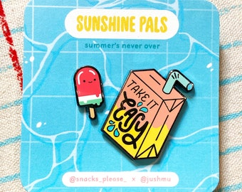 "JuiceBox + Watermelon Pop -A ""Sunshine Pals"" Snacks Please x Jushmu Collab - Hard Enamel Pin - Black Nickel Metal - Flair Lapel Pin"