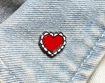"The Valentine Heart - A ""Tattoo Shop Flash"" Pin Old School/ Traditional Tattoos - Hard Enamel Pin - Gold Metal - Shiny Flair Lapel Pin"