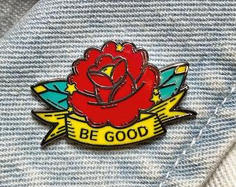 "The Good Flower - A ""Tattoo Shop Flash"" Pin Old School/ Traditional Tattoos - Hard Enamel Pin - Gold Metal - Shiny Flair Lapel Pin"