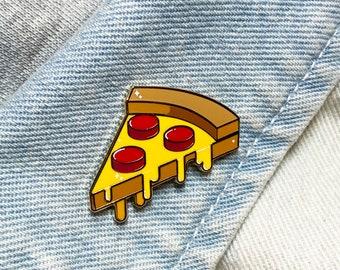 "Pizza, Building Block Shaped Food - ""Stackable Snacks"" - Hard Enamel Pin - Gold Metal - Shiny Flair Lapel Pin"