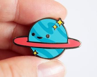 Lil Planet - A 'Lil Buddies' Pin - Cute Original Characters - Hard Enamel Pin - Gold or Black Nickel Metal - Shiny Flair Lapel Pin